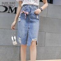 faldas mujer moda 2018 shirts mini skirt Empire Knee Length Bow A Line Solid denim skirts skirts womens 1965 50
