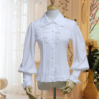 Black White Women Gothic Shirts Blouse Vintage Party Punk Victorian Renaissance Long Sleeve Lace up Back Tops Camisas Mujer