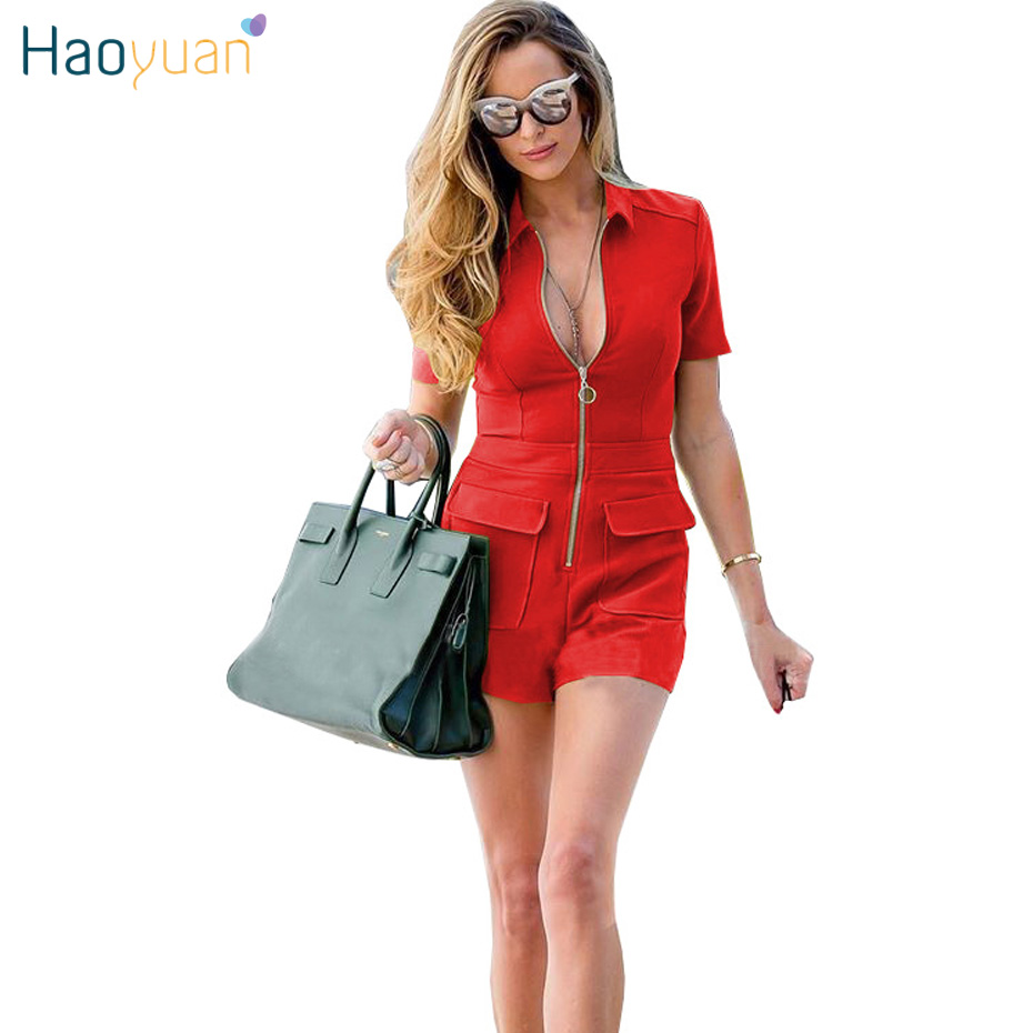 HAOYUAN 2018 Summer Casual Playsuit Rompers Womens Jumpsuit Shorts Front Zipper Overalls Black One Piece Outfit Sexy Bodysuit