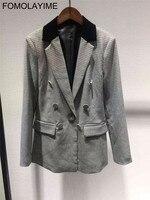 FOMOLAYIME Блейзер костюм комплекты 2018 Новый осень зима блейзер пальто и брюки комплект