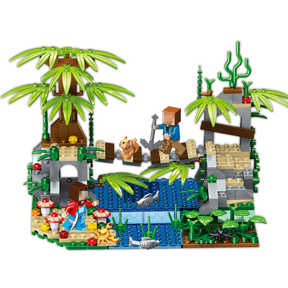 276PCS Minecrafted Toys Jungle Forest Bridge Figures Weapons Building Blocks Set Compatible Legoed City Village Gift For Kids lepin 22001 pirate ship imperial warships model building block briks toys gift 1717pcs compatible legoed 10210