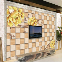 Large Scale Custom Wallpaper 3D Background Wall Golden Peony Living Room TV Home Decoration Painting Papel