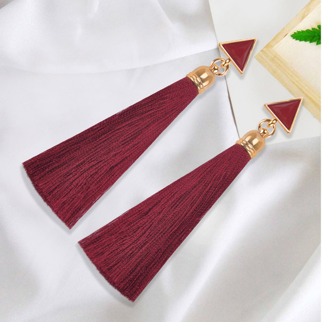 2018 Resin Stone Drop Earrings Gold Color Bohemian Vintage Black Blue Red Ethnic Long Fringe Tassel Earrings for Women Jewelry 2