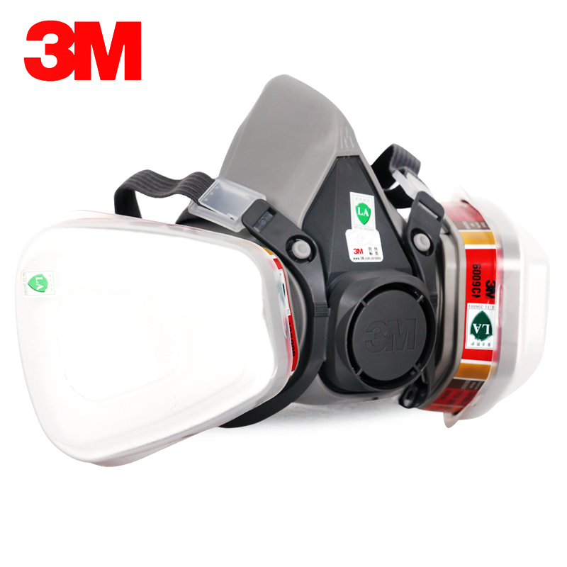 3M 6200+6009 Reusable Half Face Mask Respirator Mask Mercury Organic Vapor Chlorine Acid Gas Cartridge Vapor LT102 3m 6300 6009 reusable half face mask respirator mercury organic vapor chlorine acid gas cartridge 7 items for 1 set k01010