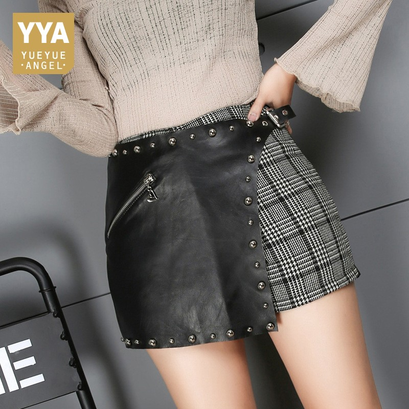 Korean New Fashion Female Shorts Skirts 2020 Spring Real Leather Rivet Plaid Trousers Mid Waist Asymmetry Casual  Shorts Woman