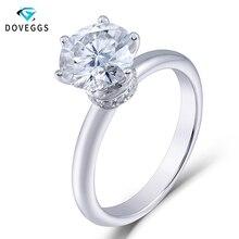 DovEggs 18K 750 White Gold 1 Carat ct Diameter 6.5mm F Color Lab Grown Moissanite Diamond Solitare Setting Engagement Ring