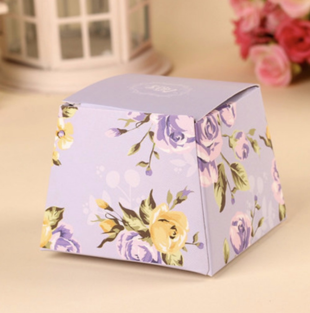 100pcs Blue/Green/Pink /Purple wedding candy box chocolate cake box ...