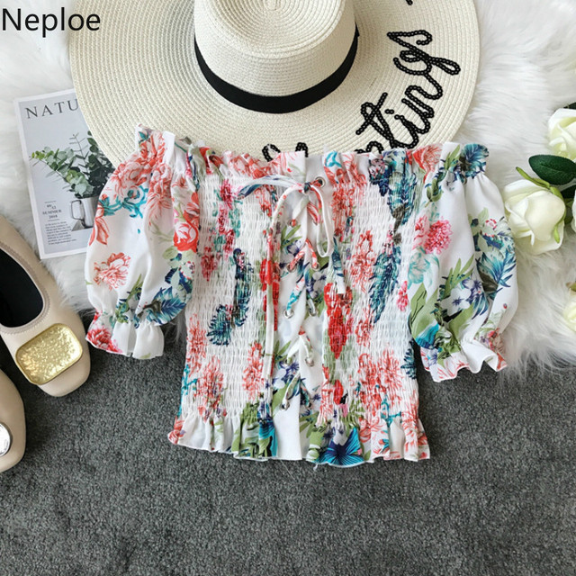 Neploe סקסי נשים חולצה 2019 קיץ אופנה פרחוני גבירותיי יבול צמרות את כתף חולצת תחרה עד קוריאני חוף שיפון חולצה 38779