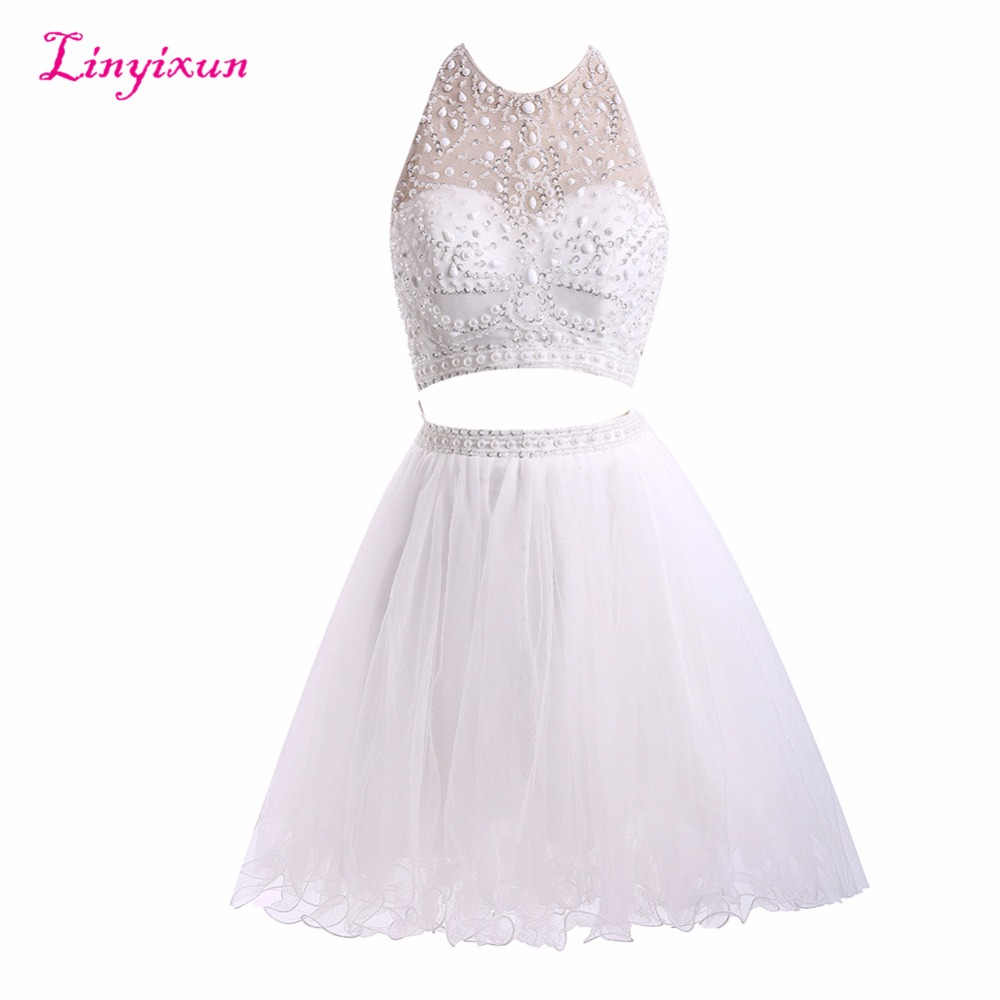 Linyixun Real Photo Two Peieces   Cocktail     Dresses   2017 With Bead Homecoming   Dress   Scoop SleeveslessTulle Short Prom Gowns