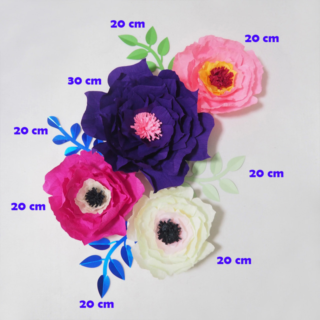 2018 giant crepe paper flowers artificial flores artificiale 4pcs 4 2018 giant crepe paper flowers artificial flores artificiale 4pcs 4 leaves for wedding event backdrop mightylinksfo