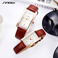 SINOBI Fashion Luxury Lover's Watches Leather Watchband Rectangle Shape Quartz Couple Watch Best Gift Watches relogio feminino