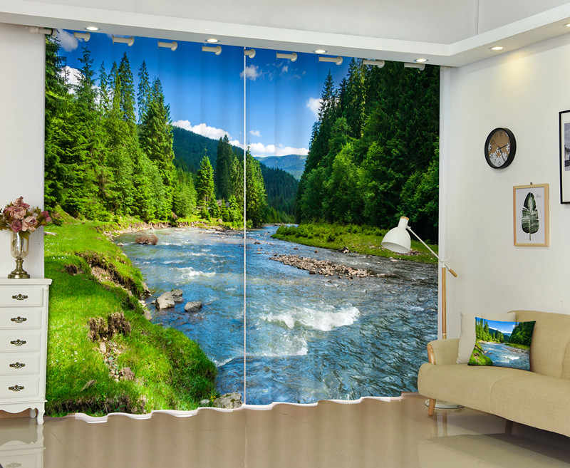3D Real Photo Of A River Landscape Window Curtain