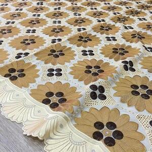 Image 5 - Originale ricamato Beige con Caffè svizzero del merletto del voile in Svizzera con pietre 048 5 metri 100% Abito di Pizzo di Cotone per partito