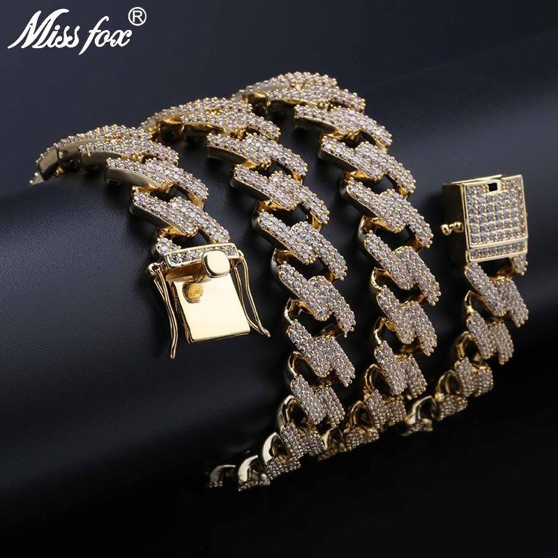 MISSFOX HIP Hop 14mm Mens Clear AAA Cubic Zirconia Gold Cuban Link Bracelet Fashion Cuban Chain 24K Gold PT Necklace 18 22
