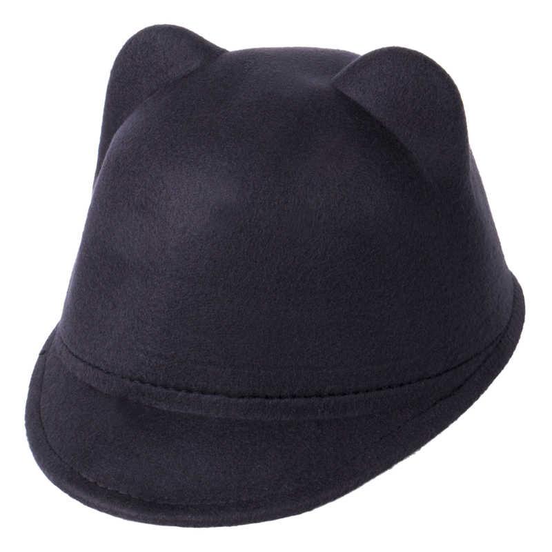 2017ファッションウール子野球帽子女の子男の子snapbackで悪魔ホーンかわいい猫耳帽子動物ダービーボウラーラブリーキャップ