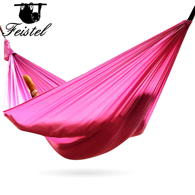 Camping Double Hammock Lightweight Parachute Portable Hammocks hamock Red for Hiking Travel Camping with hammock straps carbine(China)