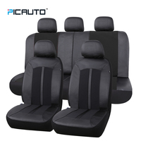 PIC AUTO Universal Car Seat Cover Waterproof Leather Jacquard Textured Fabric 3D Splicing Technology With Airbag