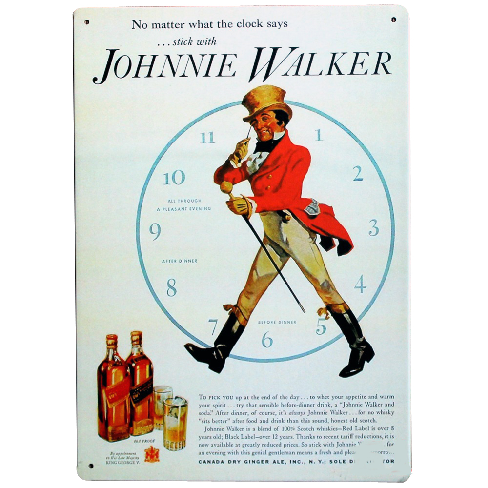 JOHNNIE WALKER and Time Metal Wine Sign Retro Spirits Plate for wedding bachelor birthday party decor display LJ7-18 20x30cm A1