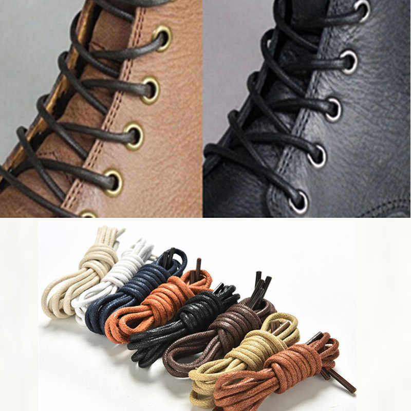 8 Colors 75-85cm 1Pair fashion casual leather shoelace Multi Color Cotton Waxed Round shoe laces