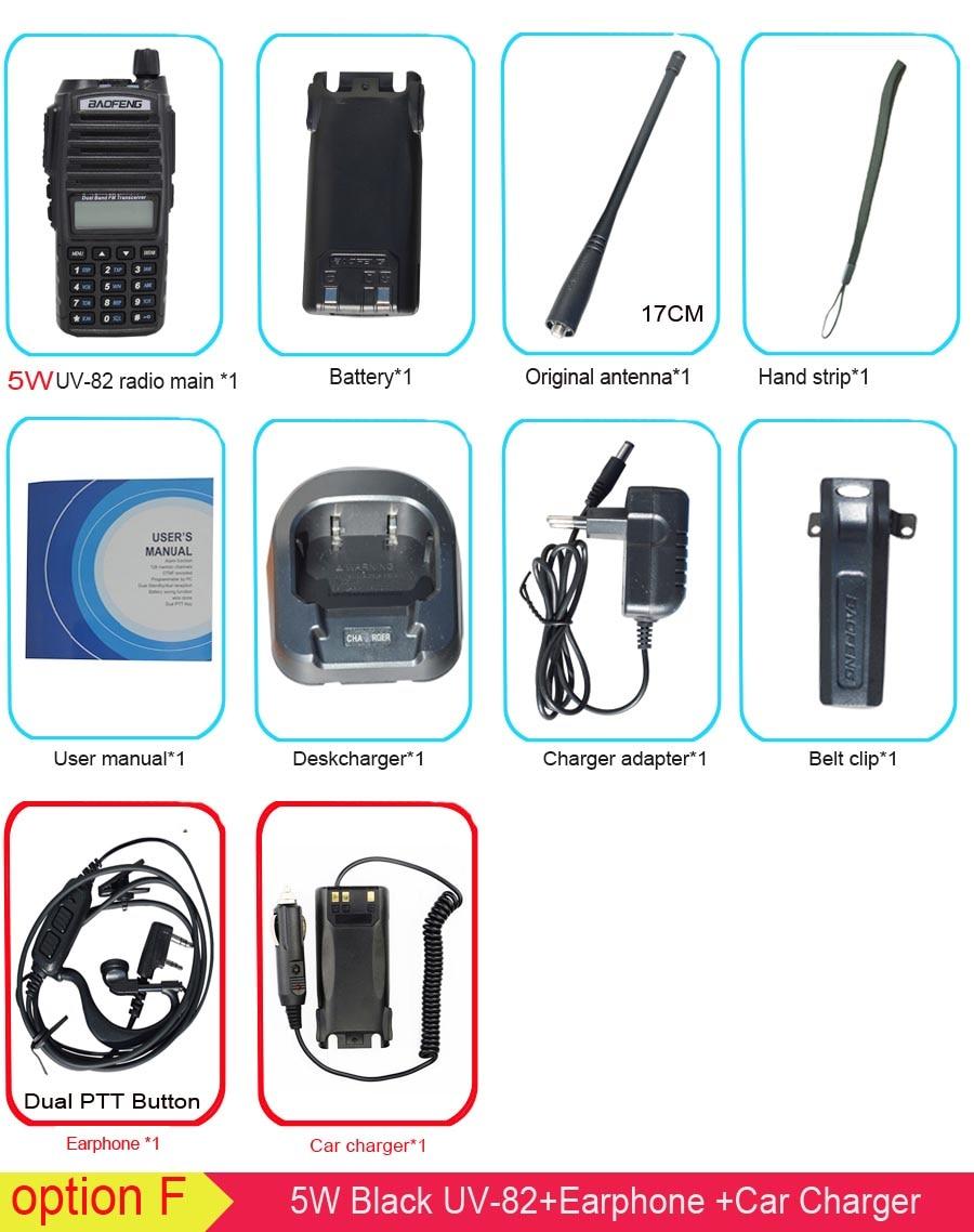 Популярная портативная рация, Baofeng, UV-82, две кнопки PTT, двухстороннее радио Vhf Uhf, двухдиапазонное Baofeng UV 82 UV82, двухстороннее радио - Цвет: 5W with car charger