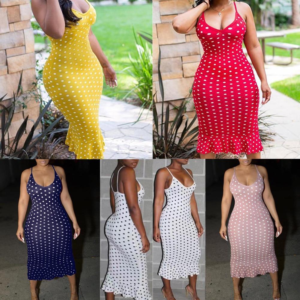 Vintage Women's Polka Dot Sling Sleeveless Backless V-neck High-waist Bodycon Slim Long Dress Lady Summer Casual Dresses S-XXL