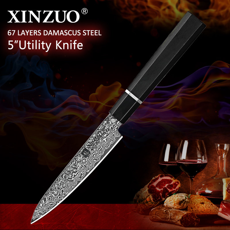 XINZUO 5 Damascus Steel Paring Knife Japanese Damascus Steel VG 10 Knife Ebony Handle Peeling Fruit