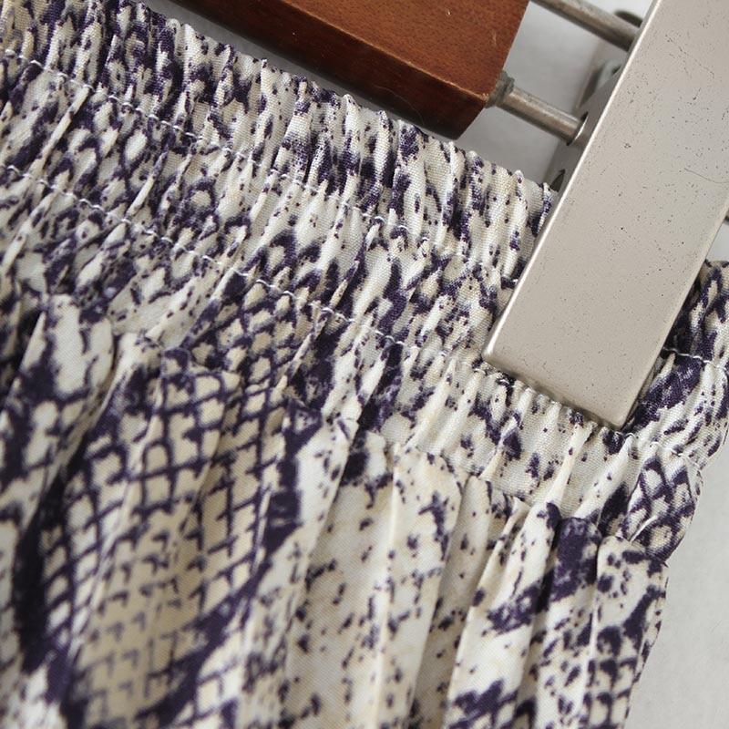 Vadim Women Stylish Snake Print Pleated Skirt Faldas Mujer Drawstring Tie Elastic Waist Ladies Casual Mid Calf Skirts Ba108 #6