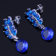 цена на Romantic Plant Blue Cubic Zirconia 925 Sterling Silver Drop Dangle Earrings For Women V0707