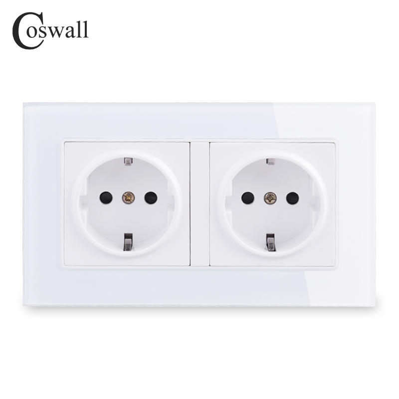COSWALL Wall Crystal Glass Panel Power Socket Plug Grounded, 16A EU Standard Electrical Double Outlet 146mm * 86mm