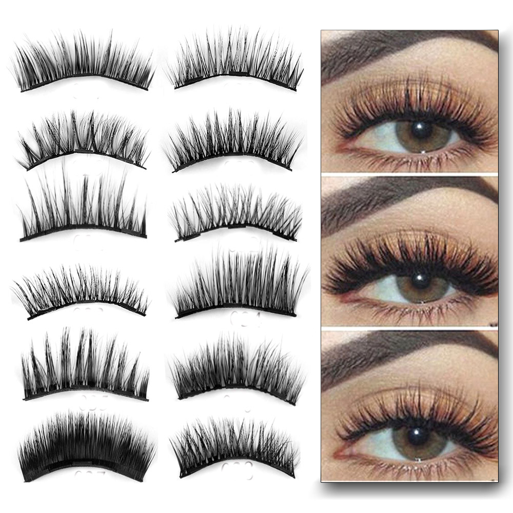 2Pairs 0.07 Triple Magnetic False Eyelashes Extension Tools Full Coverage Glue-free Magnets Eye Lashes Thick Long Makeup Tools