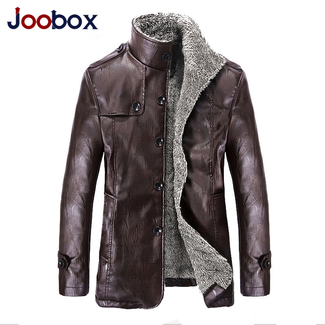 JOOBOX 2017 High quality PU leather Jacket men Punk New Leather Jackets wool liner winter Coat men brand clothing  (PY034)