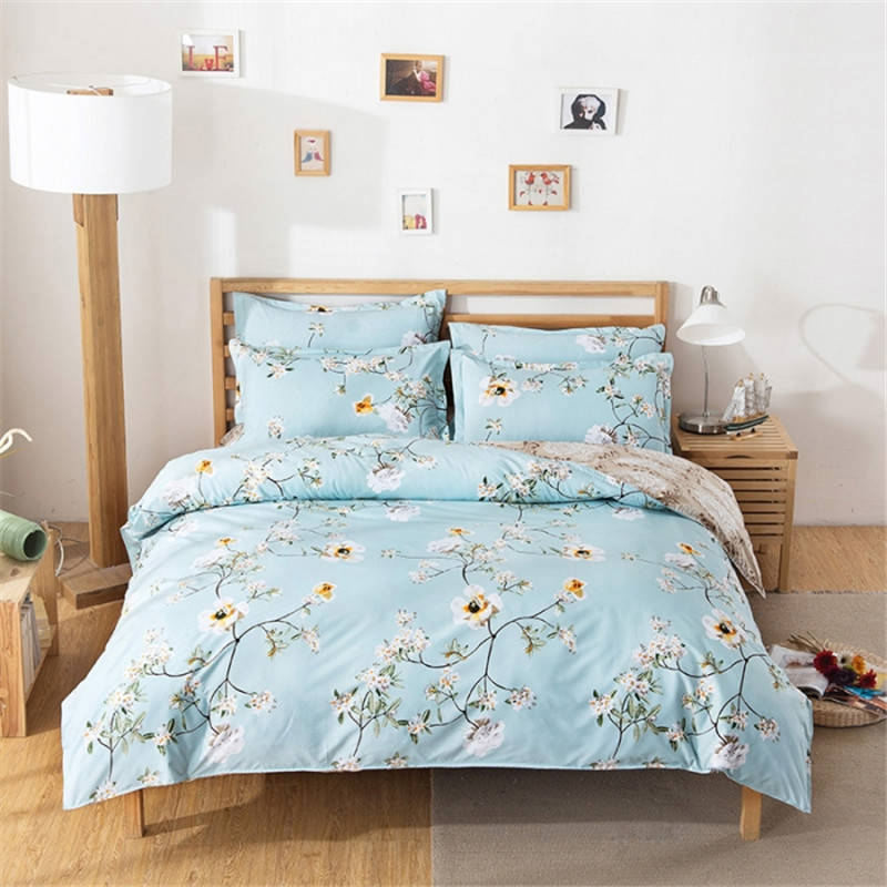 Elegant Bedding Set Floral Light Blue Bed Linen for