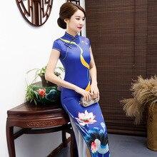 Cheongsam largo de talla grande Vintage estilo chino Vestido de moda 2019 rayón de mujer Qipao Delgado vestidos de fiesta botón Vestido S de 5XL