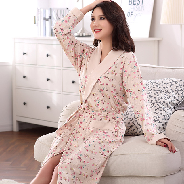 7d980b7691 Autumn Floral Sleepwear for Women Elegant Bathrobe Nightgowns Women s Robes  Dressing Gowns Bathrobe Kimino Best for Gift Clothes