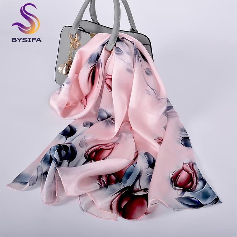 [BYSIFA] Pink Grey Rose Bud Silk   Scarf   Shawl Ladies New Brand 100% Silk Satin Neck   Scarf   Cape Women Long   Scarves     Wraps   175*52cm