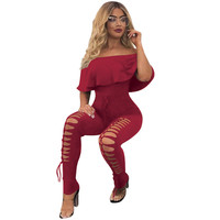 Summer Off Shoulder Ruffles Sexy Holes Jumpsuit 4 Colors Solid Women Casual Nightclub Outfits Skinny Long