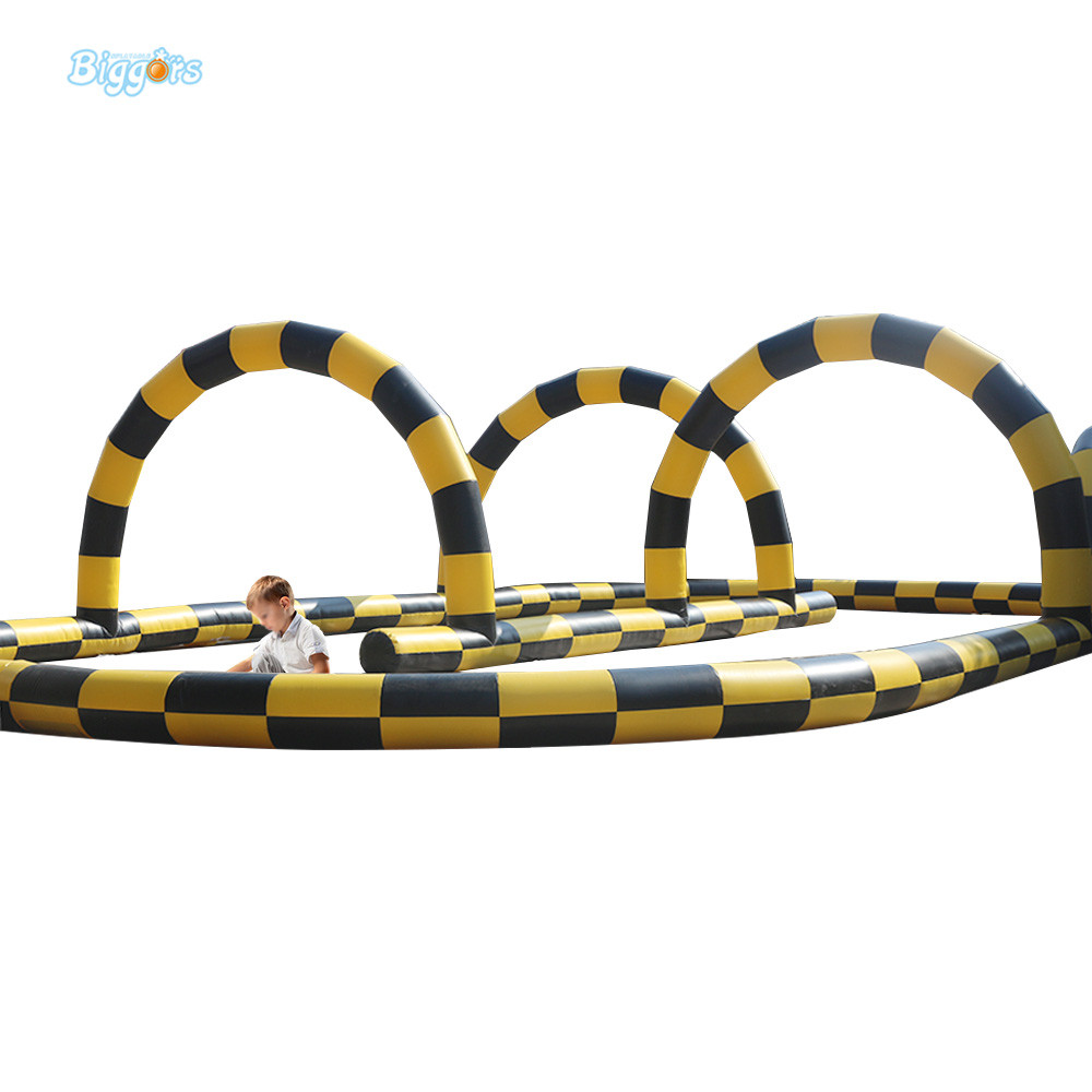 Sea Shipping Inflatable Car Or Bicycle Go Race Track Inflatable Race Track For Sale kids play outdoor sports games go kart race air track for balls inflatable race track