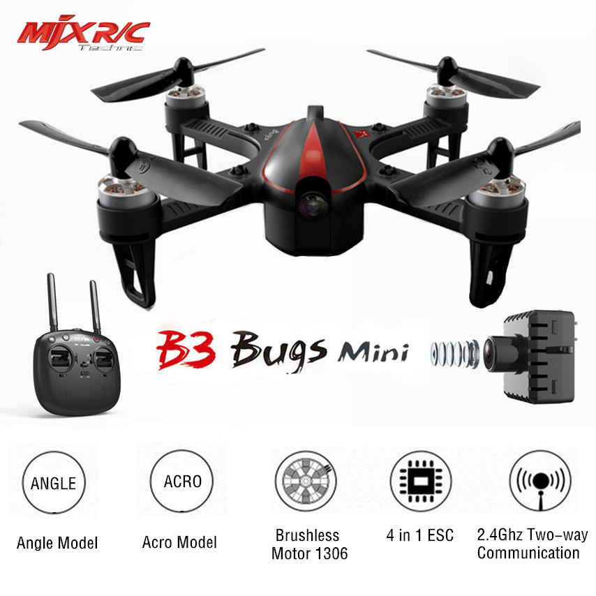 MJX B3 Bugs 3 Mini RC Drone Quadcopter Brushless With 1306 2750KV Motor 7.4V 850mAh 45C Battery VS Bugs 3 Drone Helicopter Toy mjx bugs 3 rc quadcopter rtf black