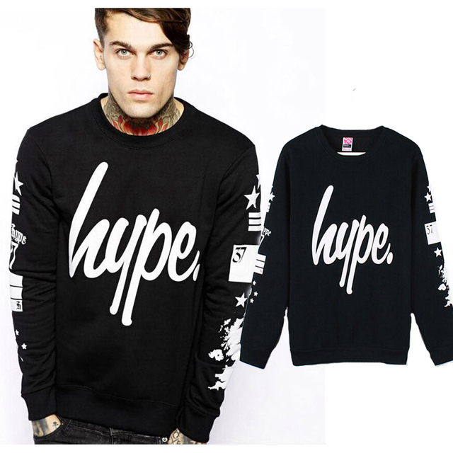 2017 Spring auturn brand fleece Fashion Hype Star Printed Men Hoodies and Black long Sleeves Hip Hop Mens casual Sweatshirts