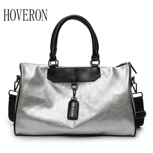 Silver Sports Bag Lady Luggage in Travel Bags Woman handbag  with Tag Duffel Gym Leather Women Yoga Fitness sac de sport