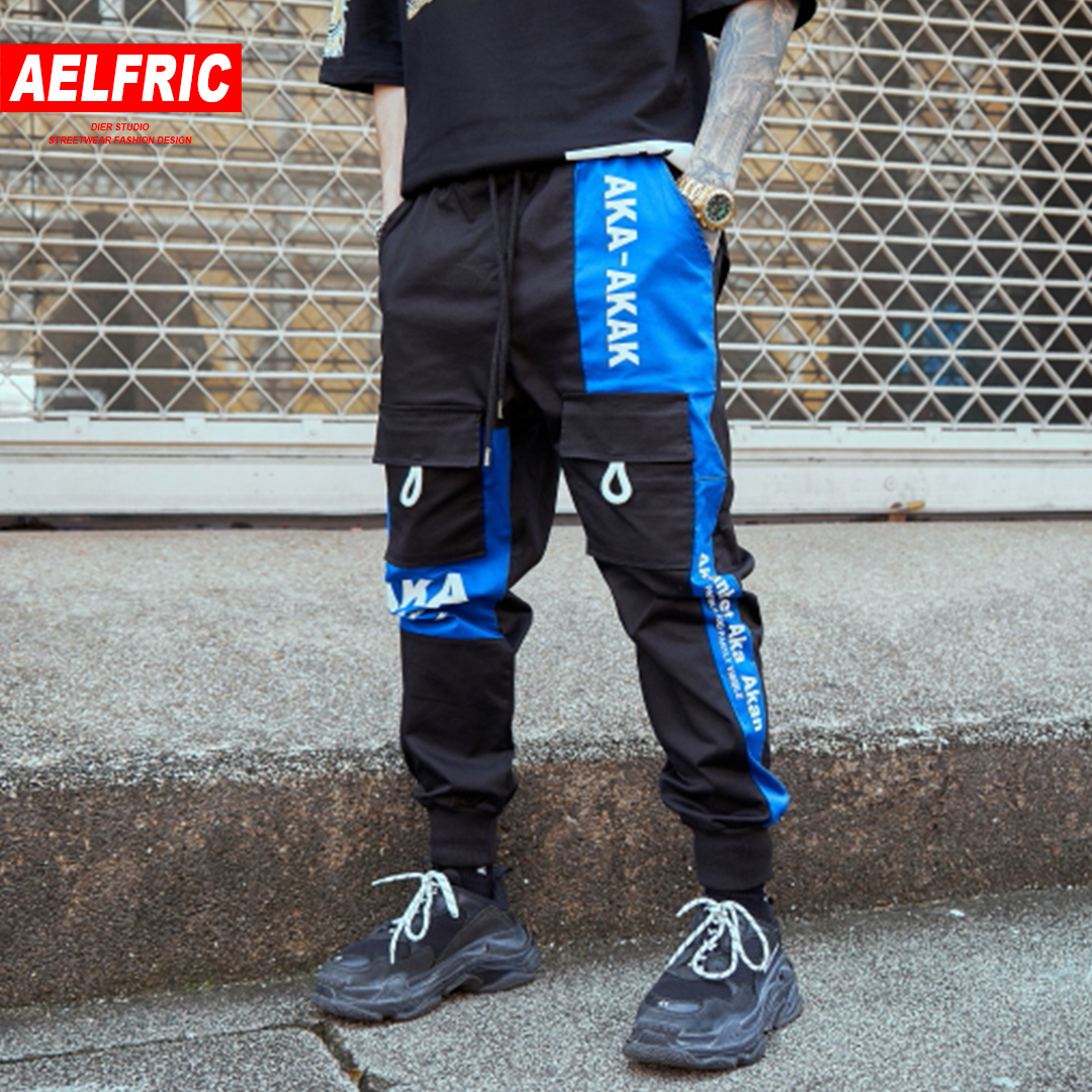 Aelfric Color Block Harem Joggers Men 2019 Spring Skateboard Sportswear Casual Pants Hip Hop Track Trousers Fashion Streetwear