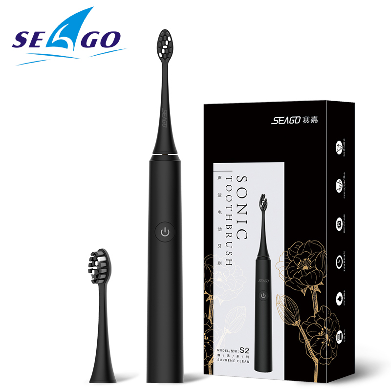 SEAGO Sonic Electric Toothbrush S2 USB Rechargeable Upgraded Ultrasonic Toothbrush Smart Timer Brush