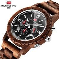 New Fashion Luxury Quartz Zebra Sandalwood Mens Wood Watches Chronograph Clock Men Watch Wooden Wrist watch relogios masculino