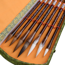 7pcs/set Chinese Calligraphy Brush Pen Stone Badger Multiple Hairs Chinese Landscape Watercolor Painting Brush Brushes Gift Set chinese calligraphy brushes pen traditional chinese painting brush set landscape watercolor painting claborate style painting page 9 page 5