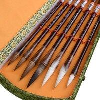 7pcs/set Chinese Calligraphy Brush Pen Stone Badger Multiple Hairs Chinese Landscape Watercolor Painting Brush Brushes Gift Set