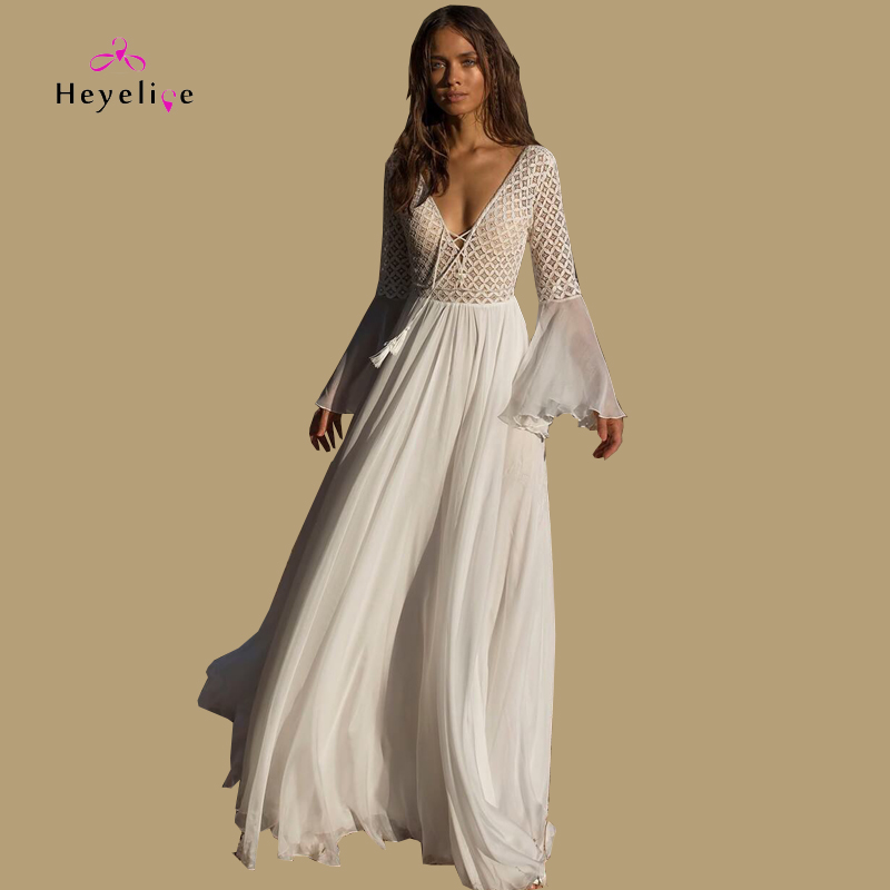 Sexy Long Bikinis Cover-Up Beach Dress Long Sleeves Front Bandage Lace Summer Dress New White Chiffon Women Tunic Beach Sarongs