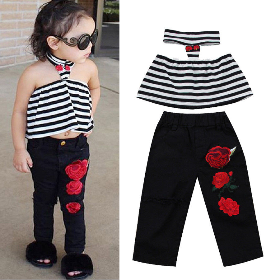 Stylish Baby Girls Halter Stripe Floral Clothing Set Fashion Toddler Kids Girl Striped Tops Flower Pants Outfits Fille Clothes baby girl 1st birthday outfits short sleeve infant clothing sets lace romper dress headband shoe toddler tutu set baby s clothes