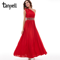 Tanpell One Shoulder Evening Dress Red Sleeveless Floor Length A Line Gown Cheap Beaded Ruched Ladies