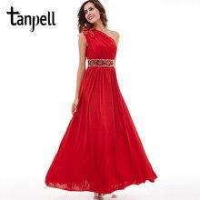 c00e5f1eee Tanpell jedno ramię suknia wieczorowa czerwona suknia bez rękawów podłogowe  długość linii tanie zroszony ruched panie party dług.