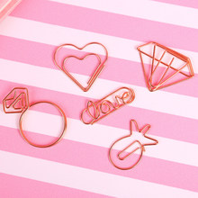 10pcs Ramdom Rose Gold Love Heart Diamond Ring Pineapple Metal Paper Clips File Notes Classified Clips Student Stationery Supply(China)